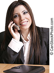Smiling business woman - Business woman on a phone call