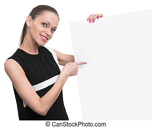 Smiling business woman hold blank card.