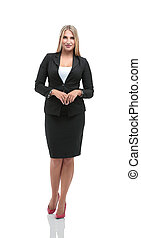 Smiling business woman, isolated on white background. crossed ar