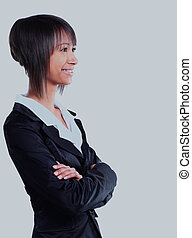 Smiling business woman. Isolated over white background.