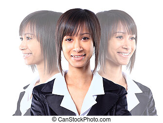 Smiling business woman. Isolated ov