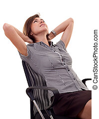 woman leaning back on a chair