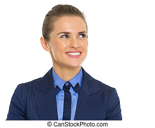 Smiling business woman looking on copy space