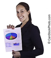 Smiling business woman showing a report document