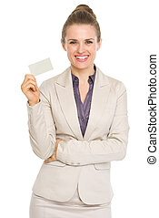 Smiling business woman showing business card