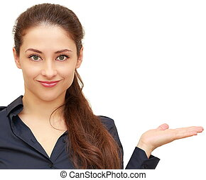Smiling business woman showing product holding in hand isolated