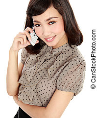 smiling business woman talking on the phone