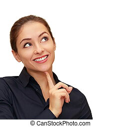 Smiling business woman thinking about looking up isolated on white background. CLoseup portrait