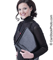 smiling business woman with a folder for documents.
