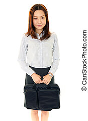 Smiling business woman with bag