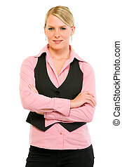 Smiling business woman with crossed arms on chest isolated on white