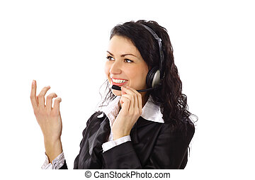 smiling business woman with gesture