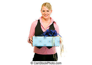 Smiling business woman with gift in hand