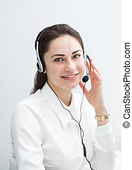 smiling business woman with headphones