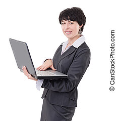smiling business woman with laptop. isolated on white