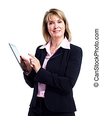 Smiling business woman with tablet computer.