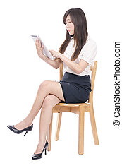 Smiling business woman with touchpad