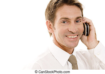 Smiling Businessman - A happy businessman talking on a phone