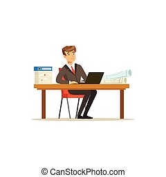 Smiling businessman character in a suit working on a laptop computer at his office desk vector Illustration