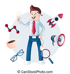 Smiling businessman dressed in a blue shirt with icons around - rocket, megaphone, magnifying glass, mug, glasses. Vector character with a light bulb, computer mouse in hand and pencil behind the ear