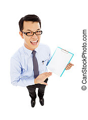smiling businessman hold a record document