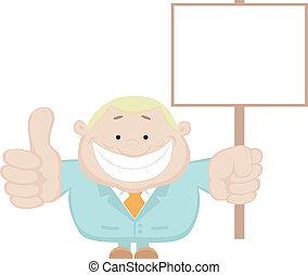 Smiling businessman holding blank