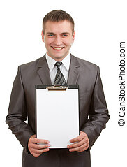 Smiling businessman holding clipboard