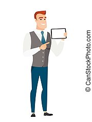Smiling businessman holding tablet computer.