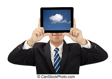 smiling businessman holding tablet pc and cloud thinking ...