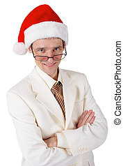 Smiling businessman in a Christmas hat