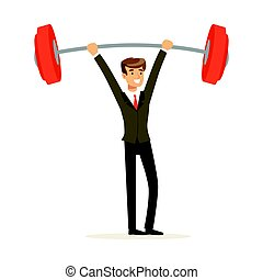 Smiling businessman in a suit easily lifting a barbell vector Illustration