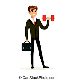 Smiling businessman in a suit easily lifting a dumbbell vector Illustration