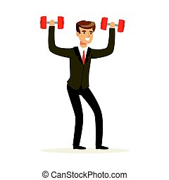 Smiling businessman in a suit easily lifting two dumbbells vector Illustration