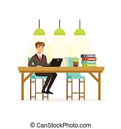 Smiling businessman in a suit working with laptop in the open space office vector Illustration