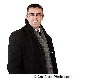 smiling businessman in autumn coat