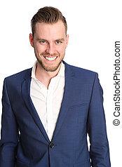 Smiling businessman in blue jacket
