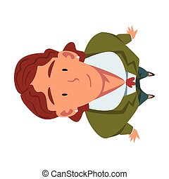 Smiling Businessman in Green Suit Standing Looking Up, View from Above Vector Illustration