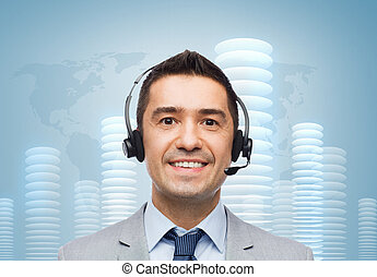smiling businessman in headset over bit coin