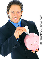 Smiling Businessman Insert Money To Piggy Bank - young...