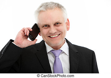 Smiling Businessman On Mobile Phone