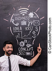 Smiling businessman pointing at painted lightbulb on chalkboard