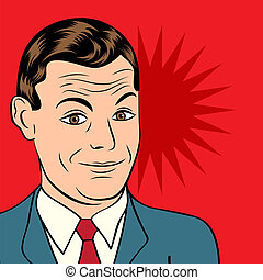 smiling businessman, pop art style illustration