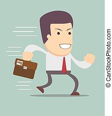 Smiling businessman running to work