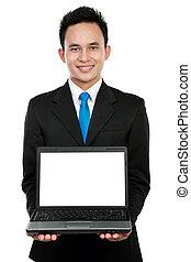 businessman showing a blank laptop