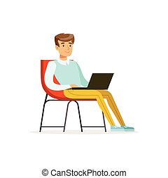 Smiling businessman sitting on a chair and working with laptop, coworking space vector Illustration