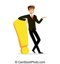 Smiling businessman standing and leaning against a red exclamation point vector Illustration