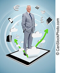 Smiling businessman standing on a t