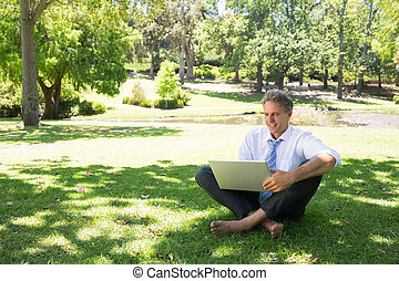 Smiling businessman using laptop at