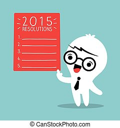 Smiling businessman with 2015 new year resolutions list -...