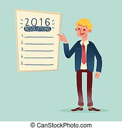 Smiling businessman with 2016 new year resolutions list...